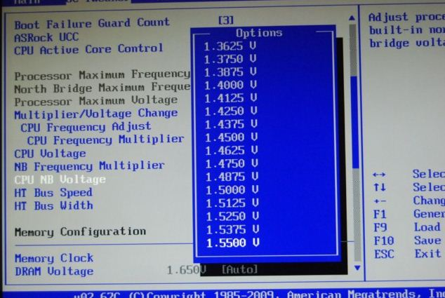 Установка CPU NB Voltage в BIOS платы ASRock 890FX Deluxe4