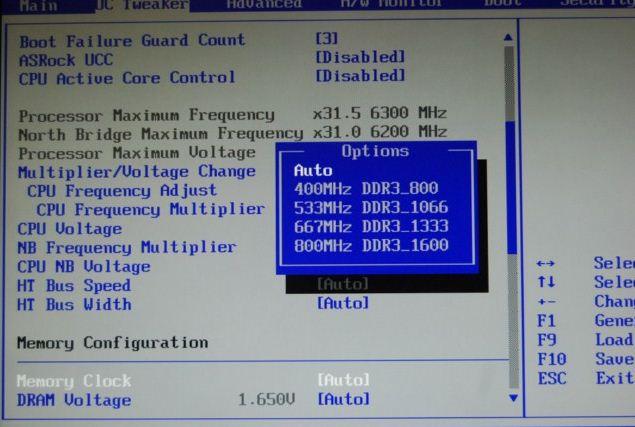 Установка частоты памяти в BIOS платы ASRock 890FX Deluxe4