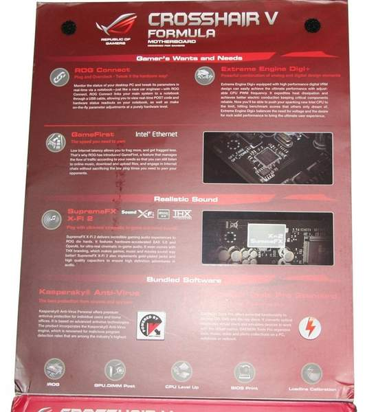 Упаковка материнской платы Asus Crosshair V Formula - обратная сторона
