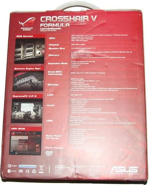 На коробке с Asus Crosshair V Formula поясняются все функциональные особенности платы