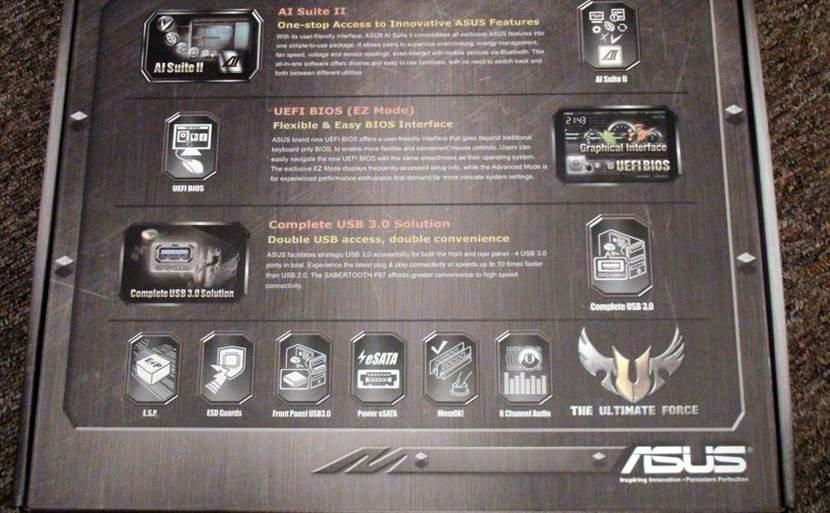 Упаковка Asus Sabertooth 990FX - перечень возможностей