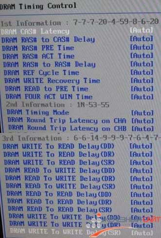 Подменю DRAM Timing Control