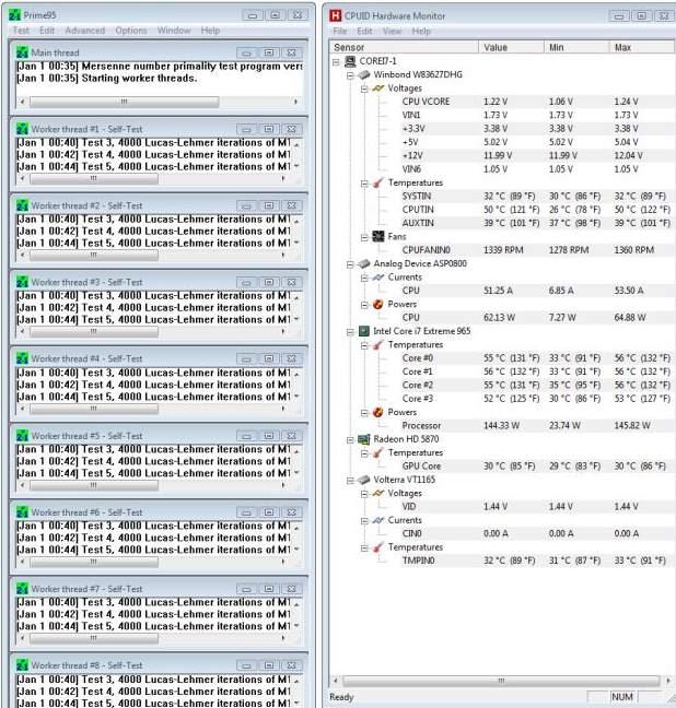 Температура процессора Core i7 965 под нагрузкой
