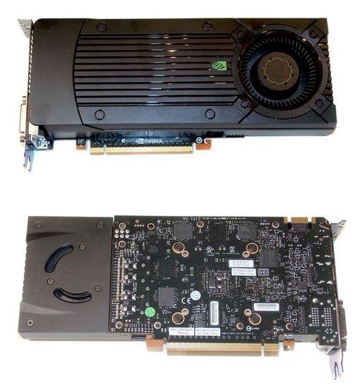 Вид спереди и сзади видеокарты NVIDIA GeForce GTX 650Ti Boost