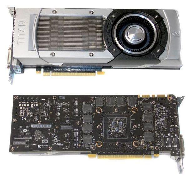 Лицевая и задняя часть видеокарты NVIDIA GeForce GTX Titan