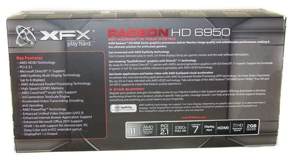 Упаковка видеокарты XFX HD 6950 - вид сзади
