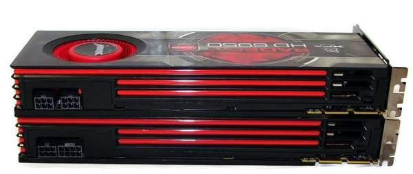 Внешний вид видеокарт XFX HD 6970 и HD 6950 - вид сверху