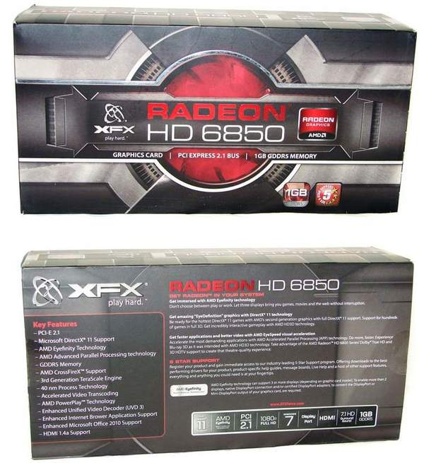 Упаковка видеокарты XFX HD 6850