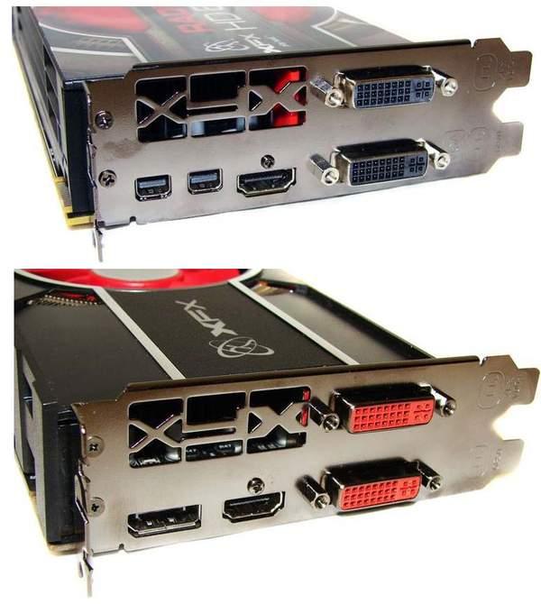 Порты видеокарт: HD 6870 (сверху) и HD 6850 (снизу)