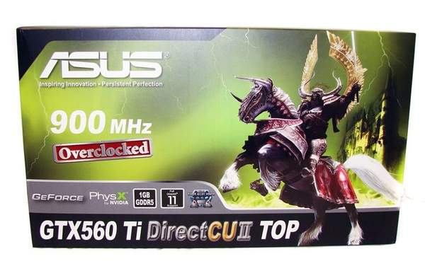 Упаковка видеокарты Asus GTX 560 Ti DirectCUII TOP