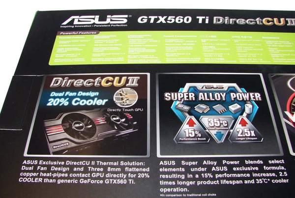 На задней стороне коробки Asus GeForce GTX 560 Ti крупным планом показаны особенности видеокарты