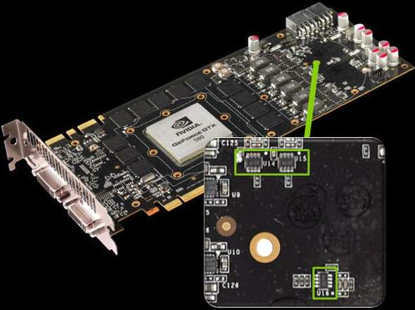 На видеокарте GTX 570 ведется аппаратный мониторинг энергопотребления
