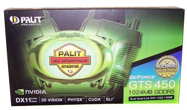 Упаковка видеокарты Palit GTS 450 Sonic Platinum