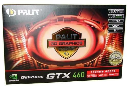 Коробка Palit GTX 460 1 Гб Sonic Platinum Edition с лицевой стороны