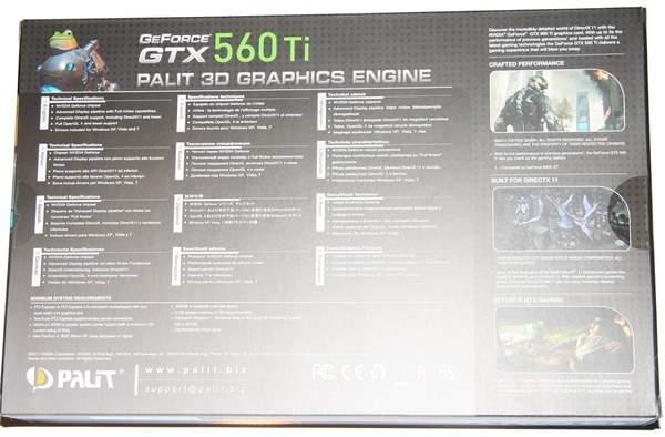 Упаковка видеокарты Palit GTX 560 Ti Sonic - обратная сторона