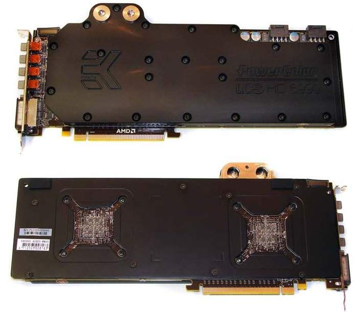 Видеокарта Powercolor LCS HD 6990. Вид спереди и сзади.