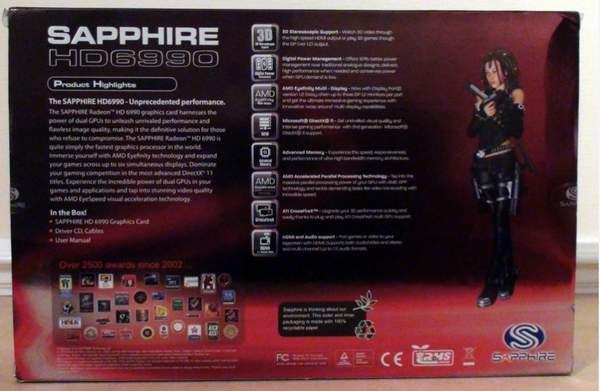 Коробка видеокарты Sapphire Radeon HD 6990 - обратная сторона