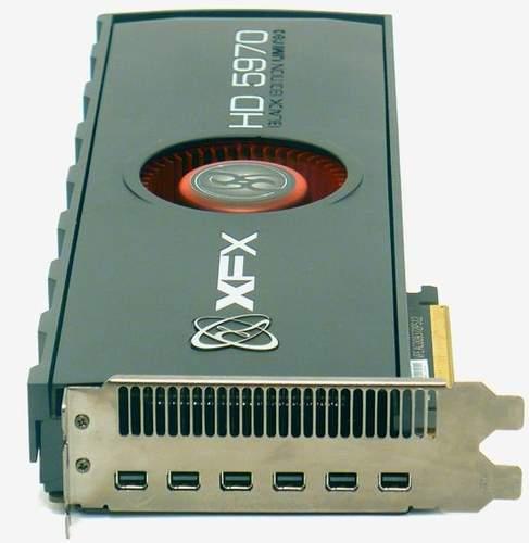 XFX HD 5970 оснащена шестью портами Mini-DP