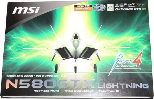 Упаковка видеокарты MSI GeForce GTX 580 Lightning