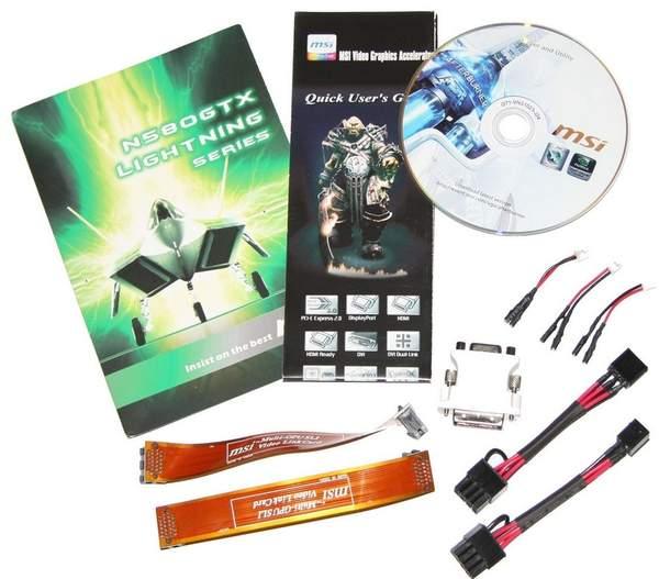 Комплектация видеокарты MSI GeForce GTX 580 Lightning