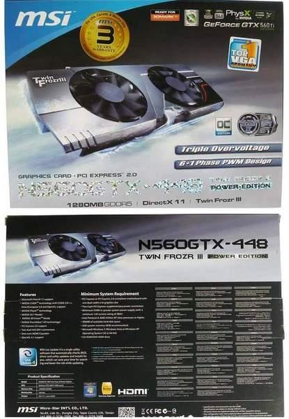Упаковка MSI N560GTX-448 Twin Frozr III