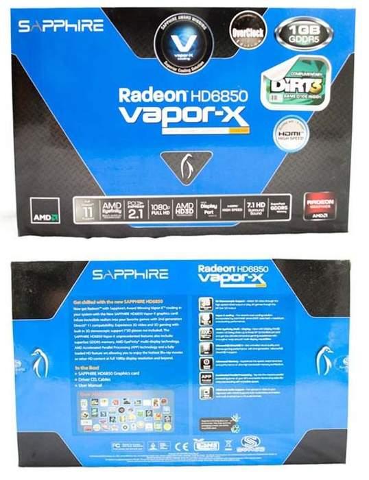 Упаковка видеокарты Sapphire HD 6850 Vapor-X Edition
